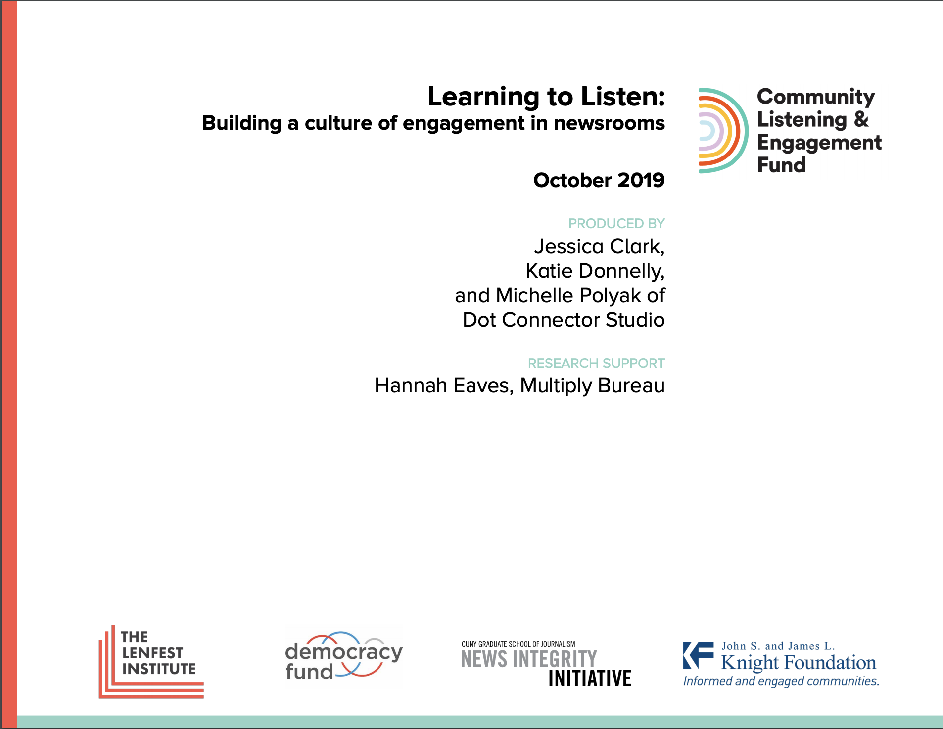 Don't miss our latest report on CLEF: Learning to Listen