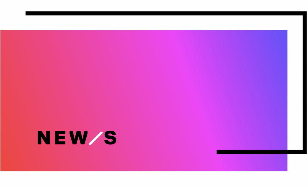 ombre pink to purple background with off set black outline on 3 sides with text reading New/s